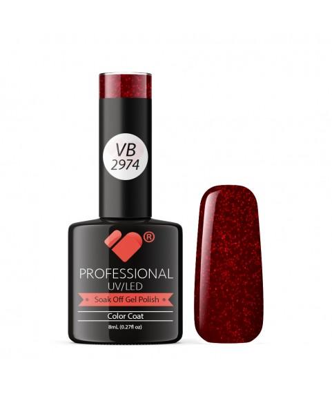 VB-2974 VB Line Dark Red Glitter Saturated Gel Nail Polish