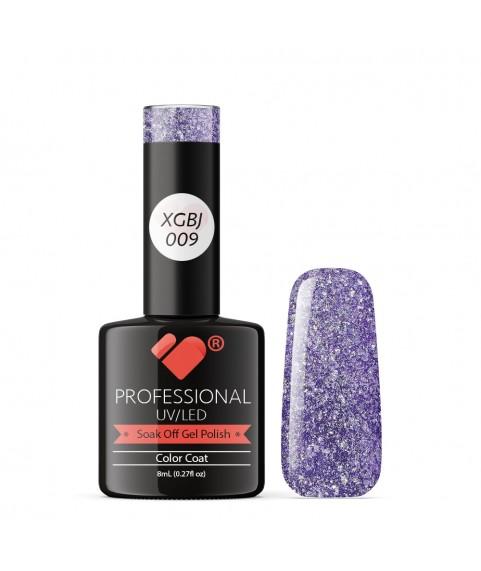 XGBJ-009 VB Line Adamant Star Purple Silver Glitter gel nail polish