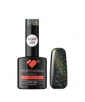 XKMY-001 VB Line Starry Cat Eye Black Gold Glitter gel nail polish