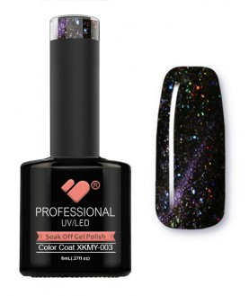 XKMY-003 VB Line Starry Cat Eye Black Purple Glitter gel nail polish