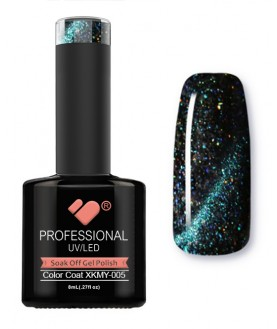 XKMY-005 VB Line Starry Cat Eye Black Green Glitter gel nail polish