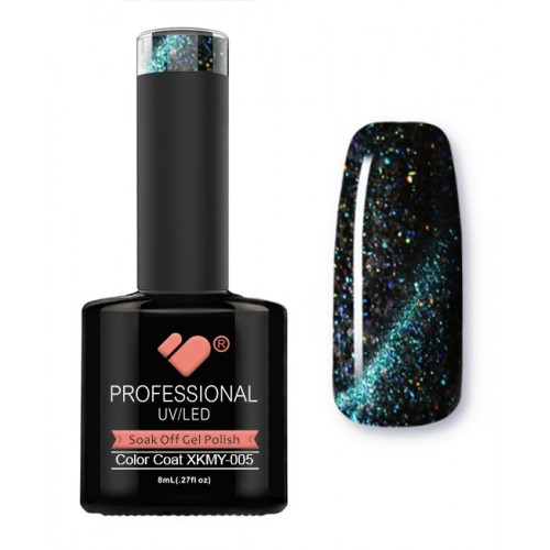 XKMY-005 VB Line Starry Cat Eye Black Green Glitter gel nail polish