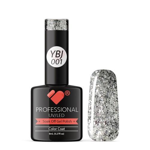 YBJ-001 VB Line Hot Platinum Silver Glitter gel nail polish