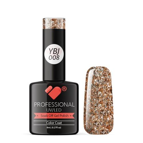 YBJ-008 VB Line Hot Platinum Rose Gold Glitter gel nail polish