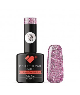 YBJ-013 VB Line Hot Platinum Pink Rose Glitter gel nail polish